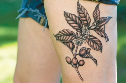 Tattoo of coffee bean