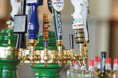 Draft beers on tap at Faust German Hofbrauhaus.
