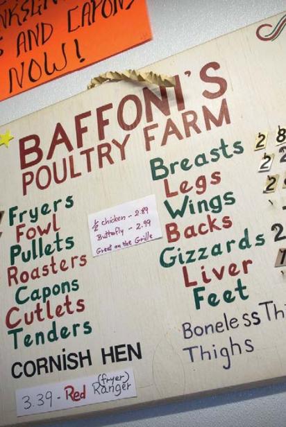 Baffoni's Poultry Farm Menu