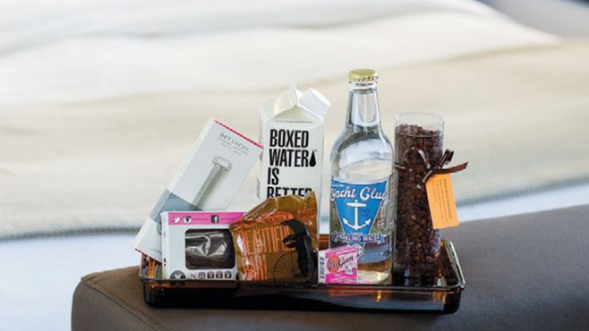 Local snacks and drinks stocked in rooms at The Dean Hotel