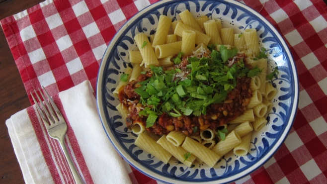 Pasta With Boar Sausage and Pine Nut Bolognese