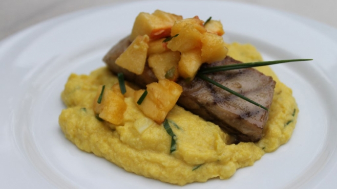 Grilled Striped Bass with Sweet Corn Pudding and Peach Relish