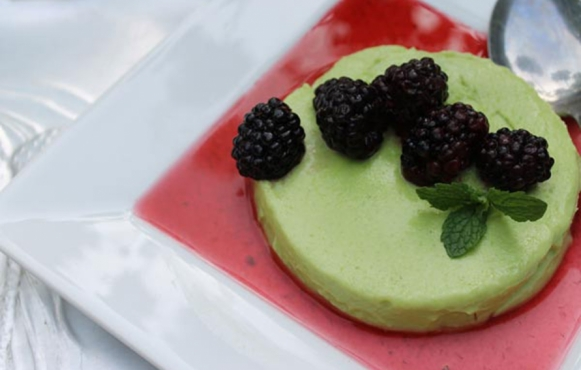 Sweet Pea Panna Cotta With Macerated Blackberries