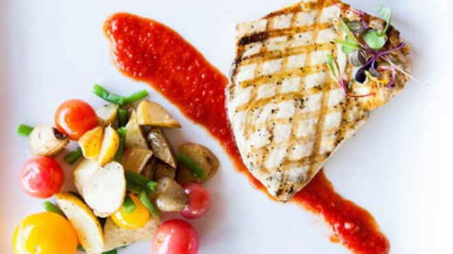 Grilled Swordfish With Haricots Verts, Fingerling Potatoes, Heirloom Cherry Tomatoes and Arrabbiata Sauce