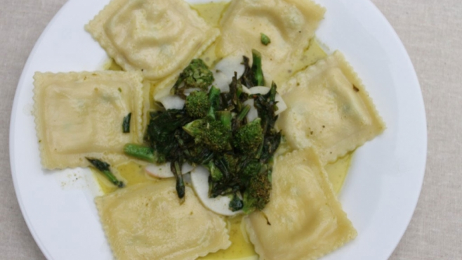 Wild Mushroom Ravioli with Shaved Baby Turnips and Broccoli Rabe