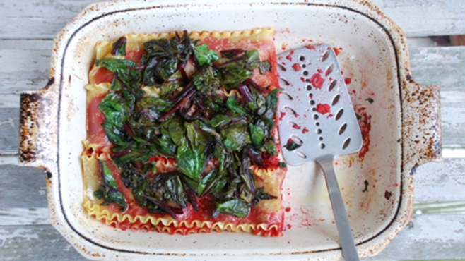 Roasted Beet Lasagne with Balsamic Beet Greens