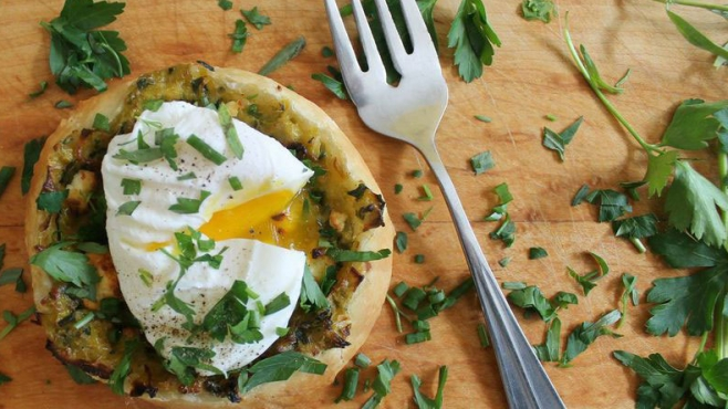 Herby Poached Egg On A Spring Onion & Chèvre Tartlet
