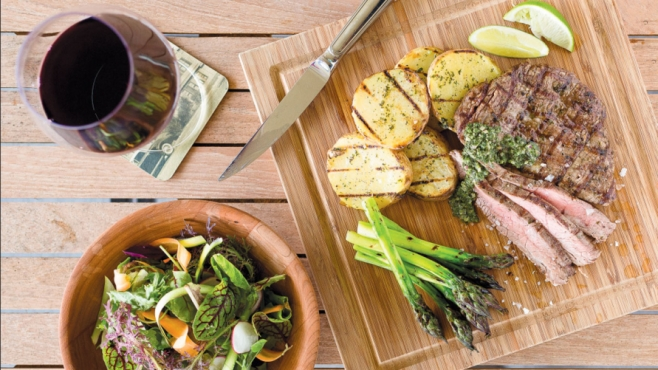 Marinated Flank Steak with Chimichurri and Grilled Potatoes