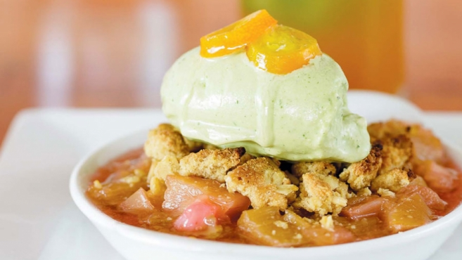Rhubarb Crumble With Fresh Mint Ice Cream