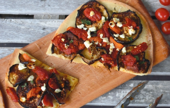 Roasted Tomato and Eggplant Flatbread