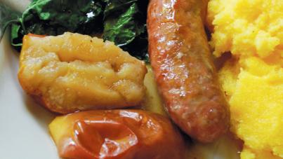 Roasted Sausage, Roast Apples, Polenta and Sauteed Greens