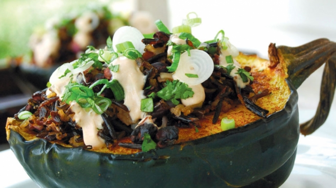 Stuffed Acorn Squash with Black Beans, Rice and Adobo Cream