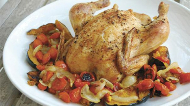 Cayenne-Roasted Chicken with Maple-Roasted Acorn Squash, Carrots and Onion