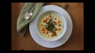 Sweet corn soup with pancetta