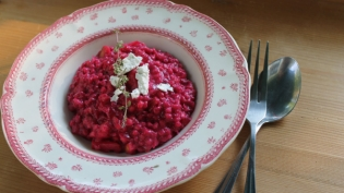 Beet & Barley Risotto with Goat Cheese & Apples with table setting