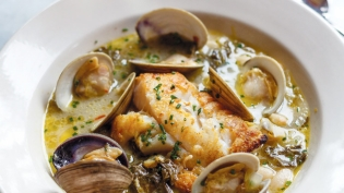 Haddock and Clams with White Wine, Potatoes and Escarole