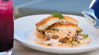 Pan Roasted Fluke & Fried Green Tomatoes with Jonah Crab-Chive Remoulade