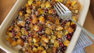 Roasted Butternut Squash with Fresh Cranberries & Toasted Seeds