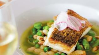 Spring Vegetable Pistou With Yellow-Eyed Beans, Favas, Peas & Black Bass